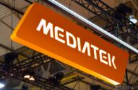 The MediaTek logo as seen at Mobile World Congress 2018.