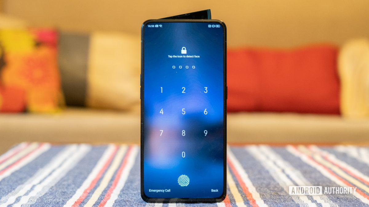 Oppo Reno 2 front display and shark fin