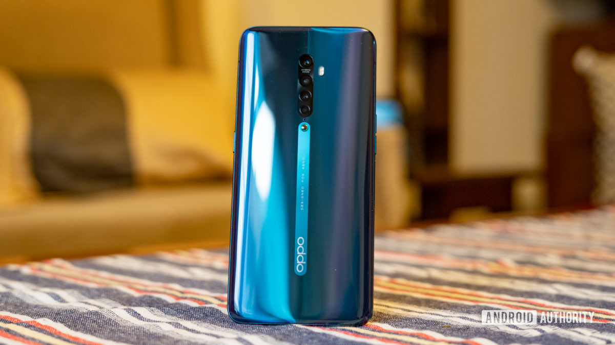 Oppo Reno 2 showing back panel standing up