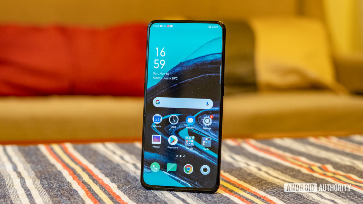 Oppo Reno 2 showing front display