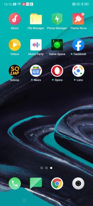Oppo Reno 2 homescreen apps