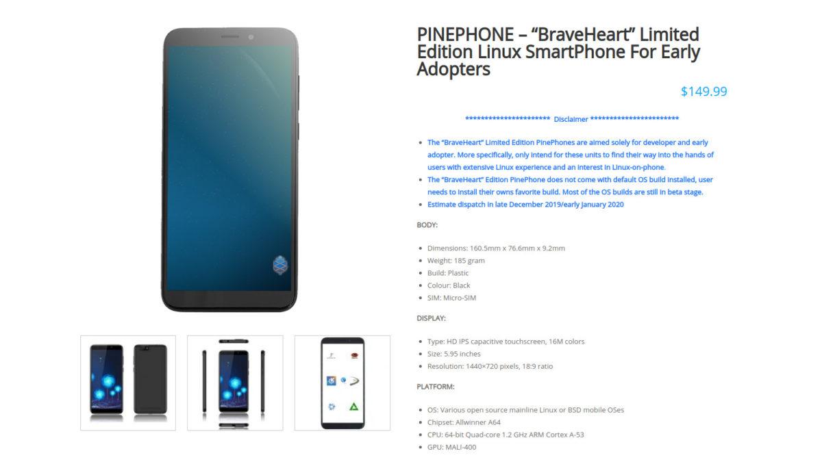 Pine64 PinePhone BraveHeart Edition