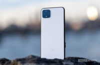 Google Pixel 4 XL back panel standing on rock 13