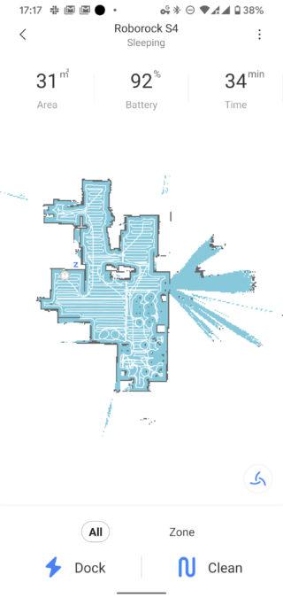 Roborock app clean map