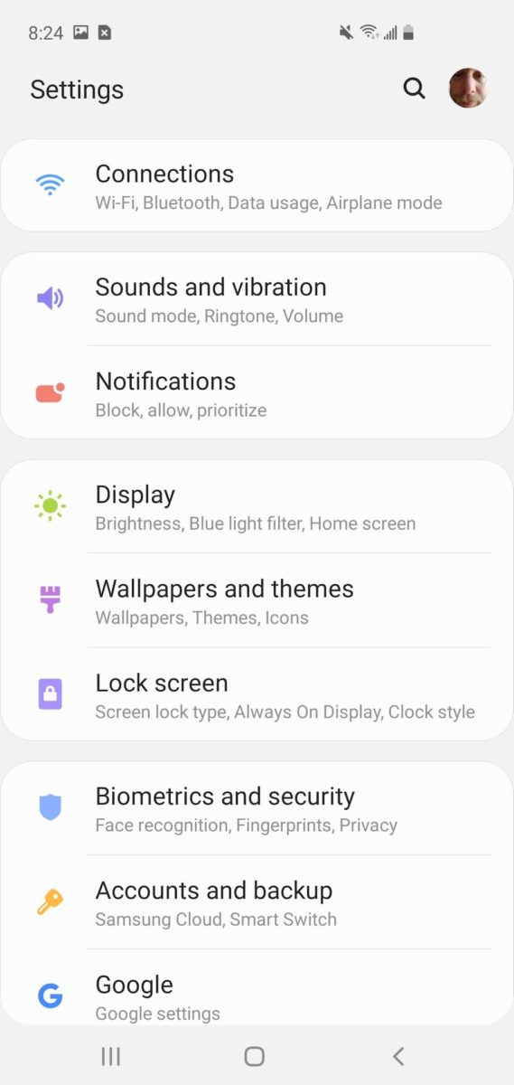 Samsung One UI 1 system settings
