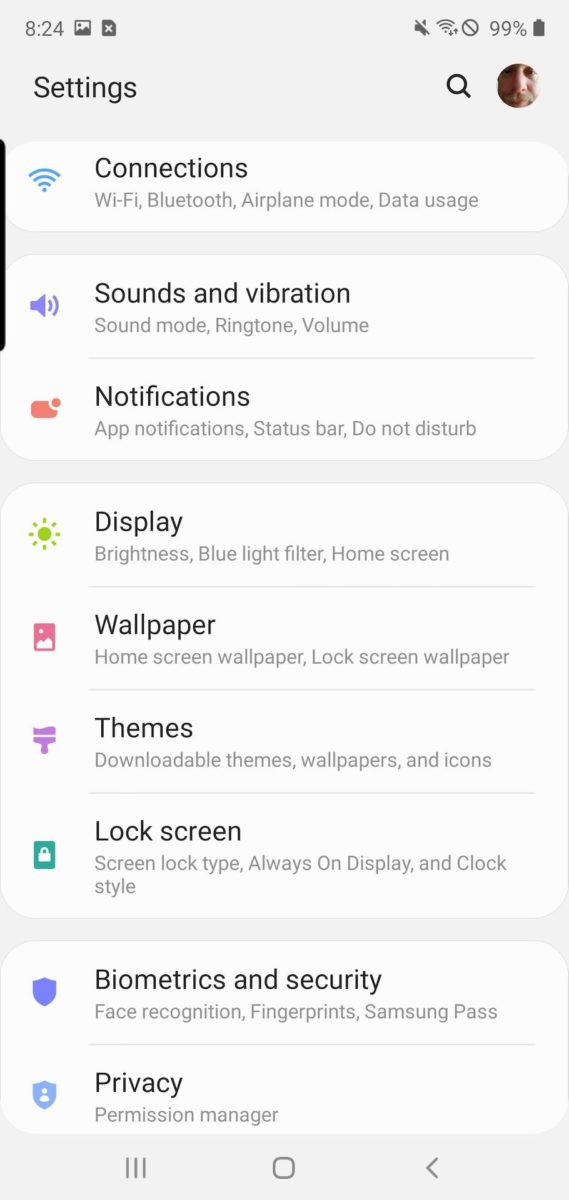 Samsung One UI 2 system settings