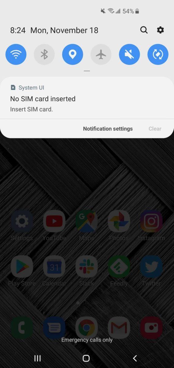 Samsung One UI 1 quick settings