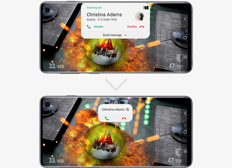 Samsung One UI 1 vs 2 incoming call