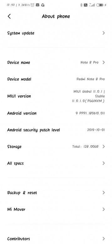 Redmi Note 8 Pro MIUI 11 update changelog