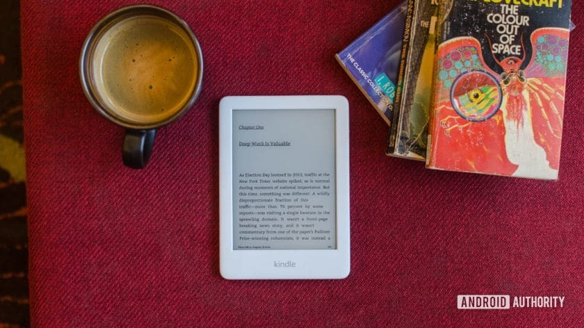 Amazon Kindle 2019 front with book and text