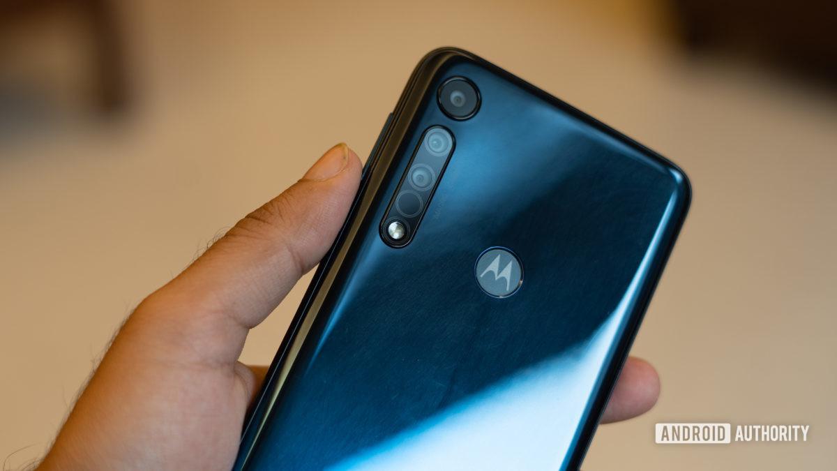 Moto One Macro back panel showing fingerprints and smudges
