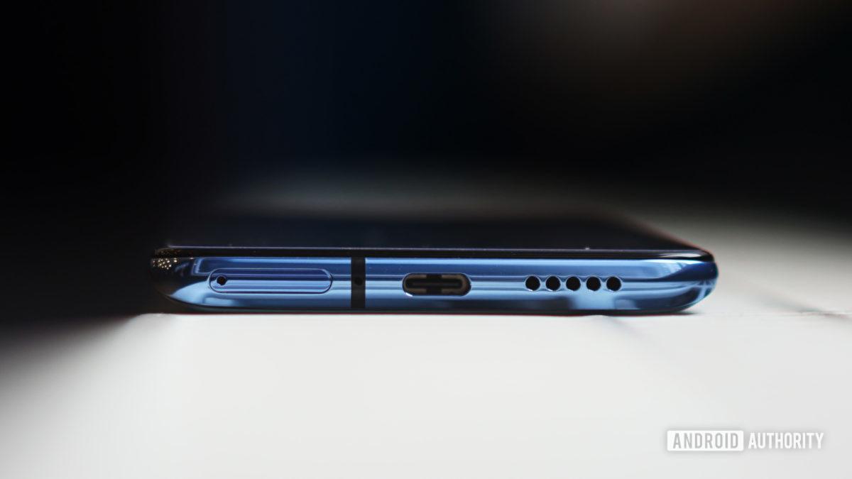 OnePlus 7T USB C port SIM tray and speaker