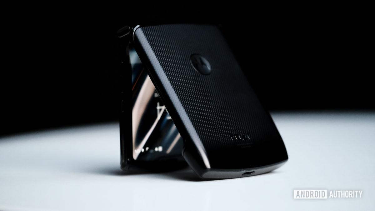 Moto Razr foldable half folded on table 2