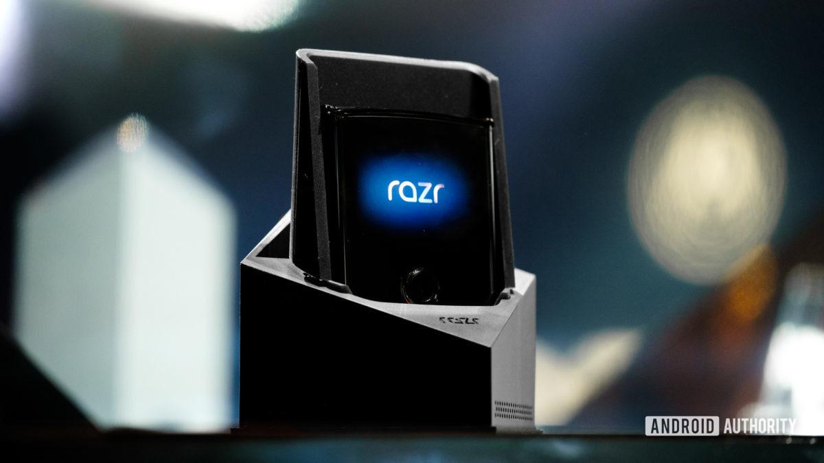 Moto Razr foldable folded sitting in box speaker