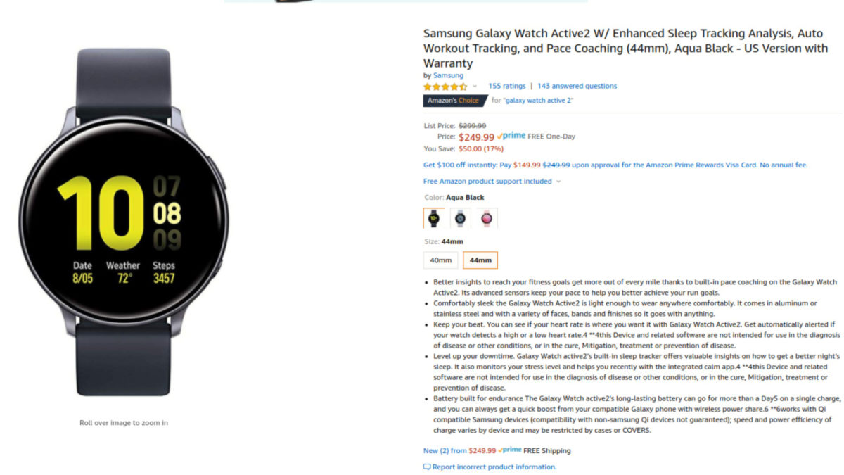 Samsung Galaxy Watch Active 2 deal on Amazon