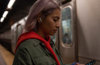 Apple AirPods Pro worn by woman