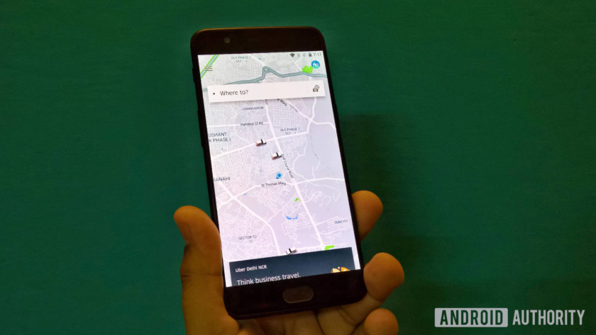 Uber app on a smartphone in India.