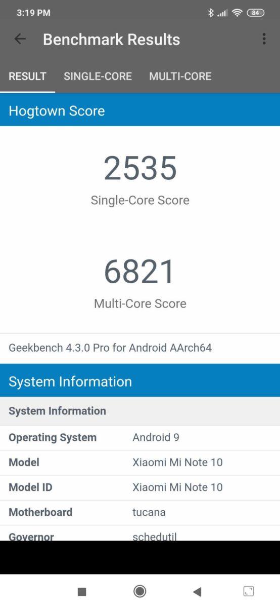 Xiaomi Mi Note 10 Geekbench Score