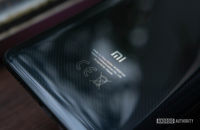 Xiaomi Mi 9T Rear casing focused on logo and carbon texture