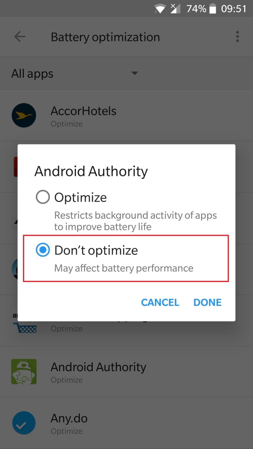 android settings doze mode