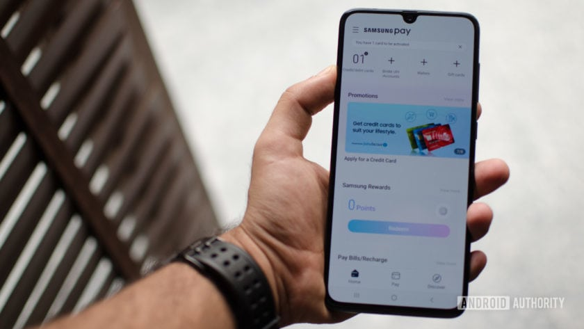 Samsung Pay Galaxy A70 home page