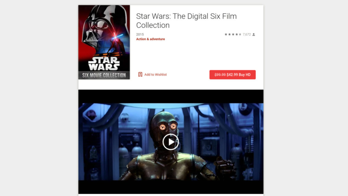 Star Wars deal on the Google Play Store