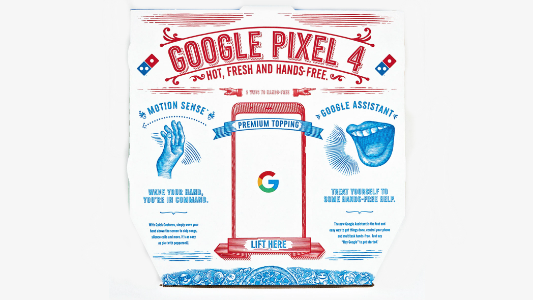Google Pixel 4 dominos pizza box