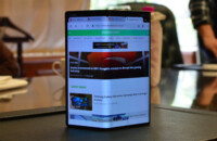 Huawei Mate X with Android Authority website on the display