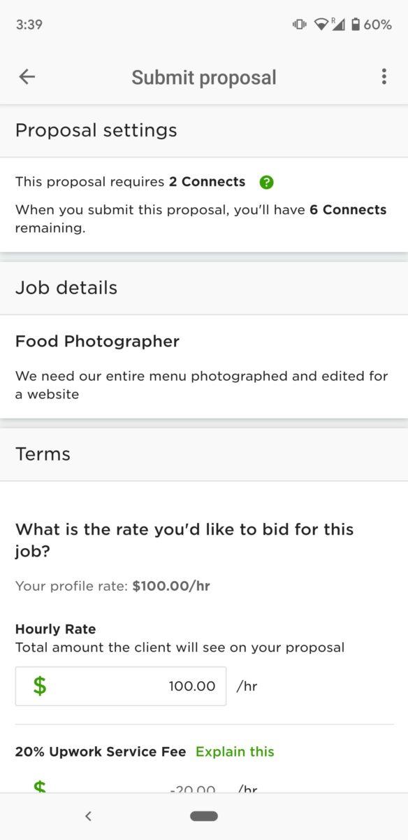 Upwork screenshots finding a job 4