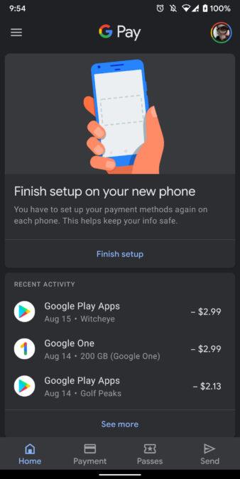 google pay dark mode screenshot 3
