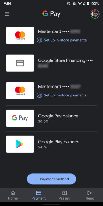 google pay dark mode screenshot 2