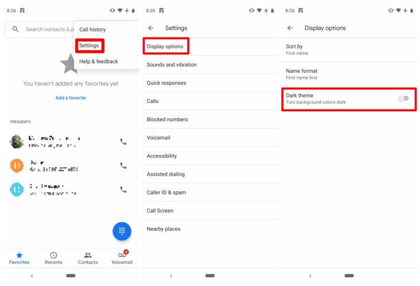 Google Phone dark theme