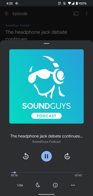 Google Podcasts dark mode 2 1