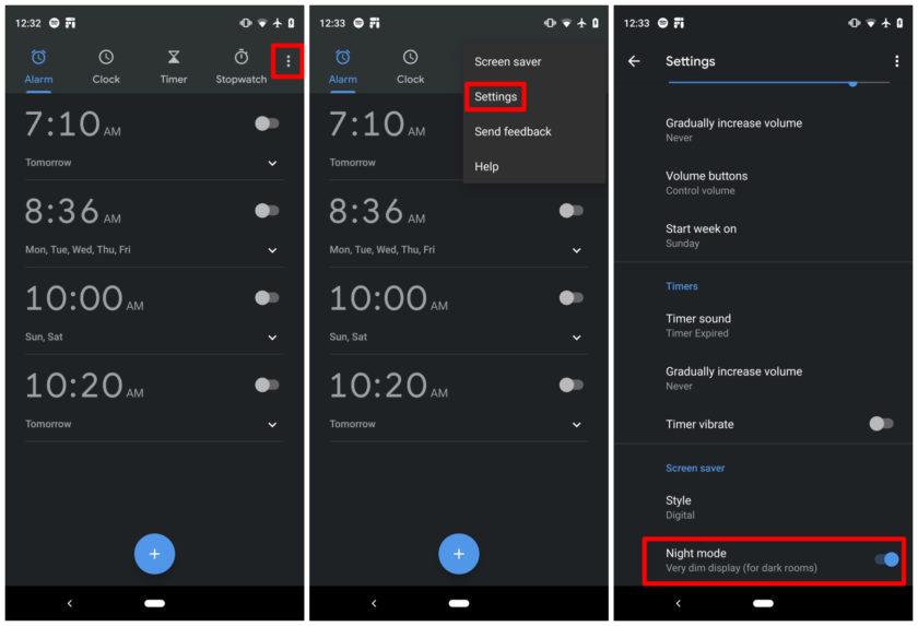 Dark mode theme in Google Clock