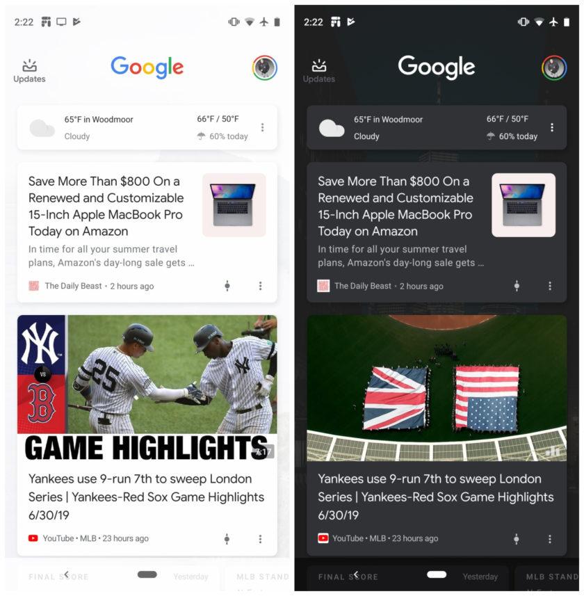 Google Discover dark theme