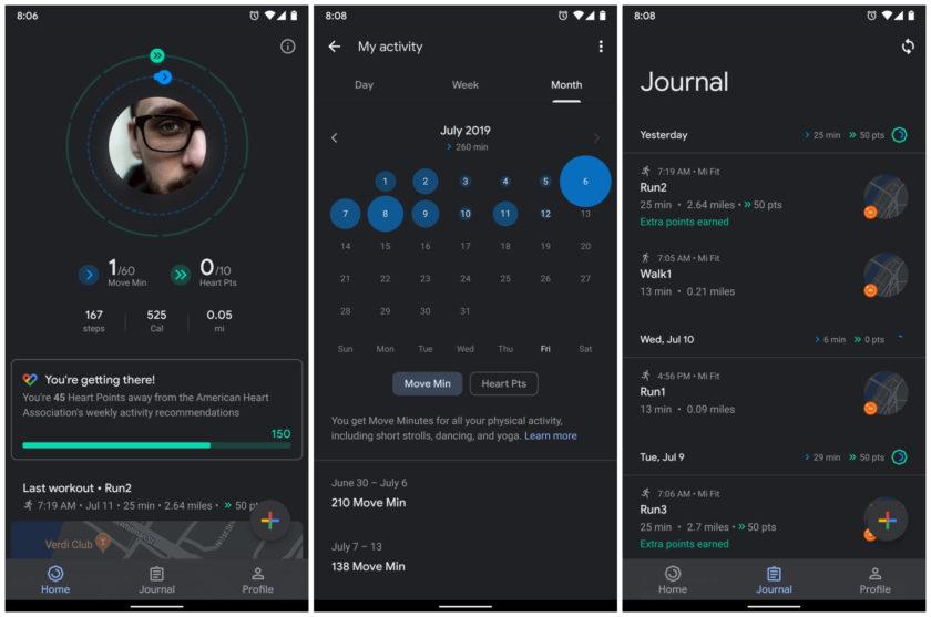 Screenshots of Google Fit dark mode