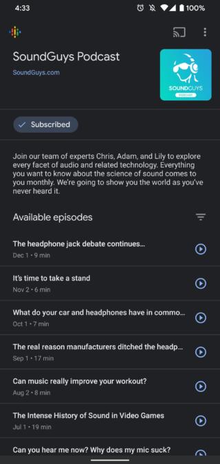 Google Podcasts dark mode 1