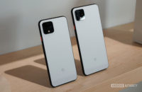 Clearly White Google Pixel 4 and Pixel 4 XL on a shelf