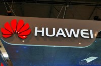 Huawei logo from a technology event.