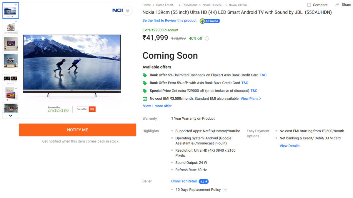 Nokia smart TV Flipkart sale page