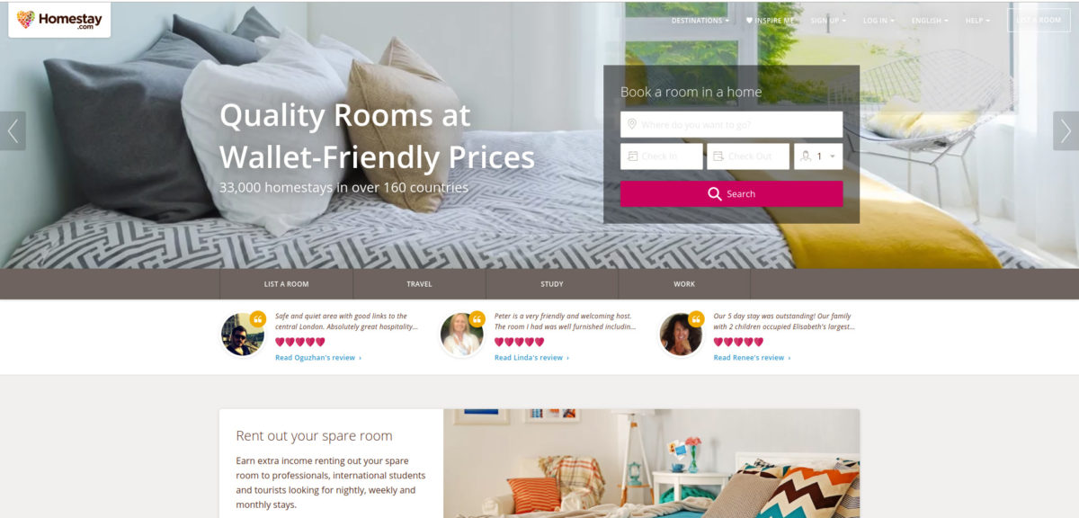 Screenshot of the Homestay homepage