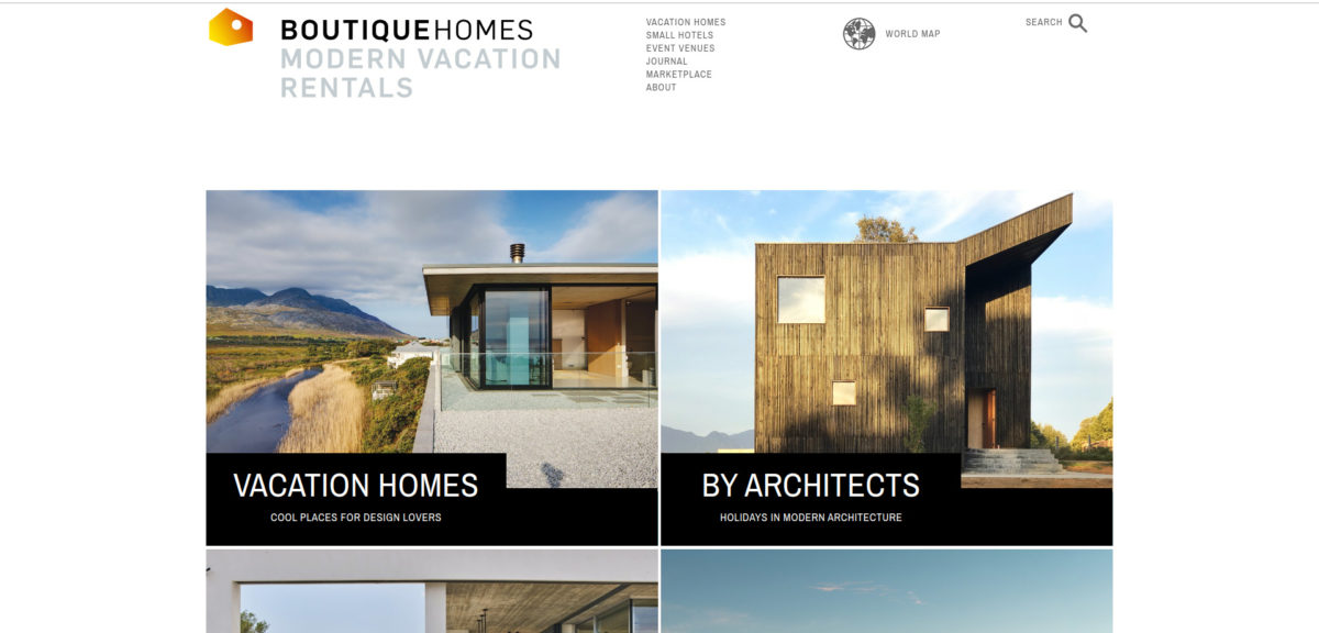 Screenshot of the BoutiqueHomes homepage