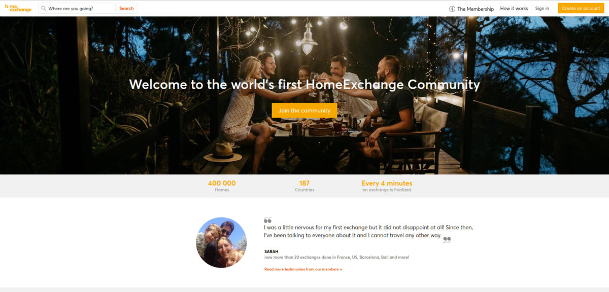 Screenshot of the Home Exchange homepage