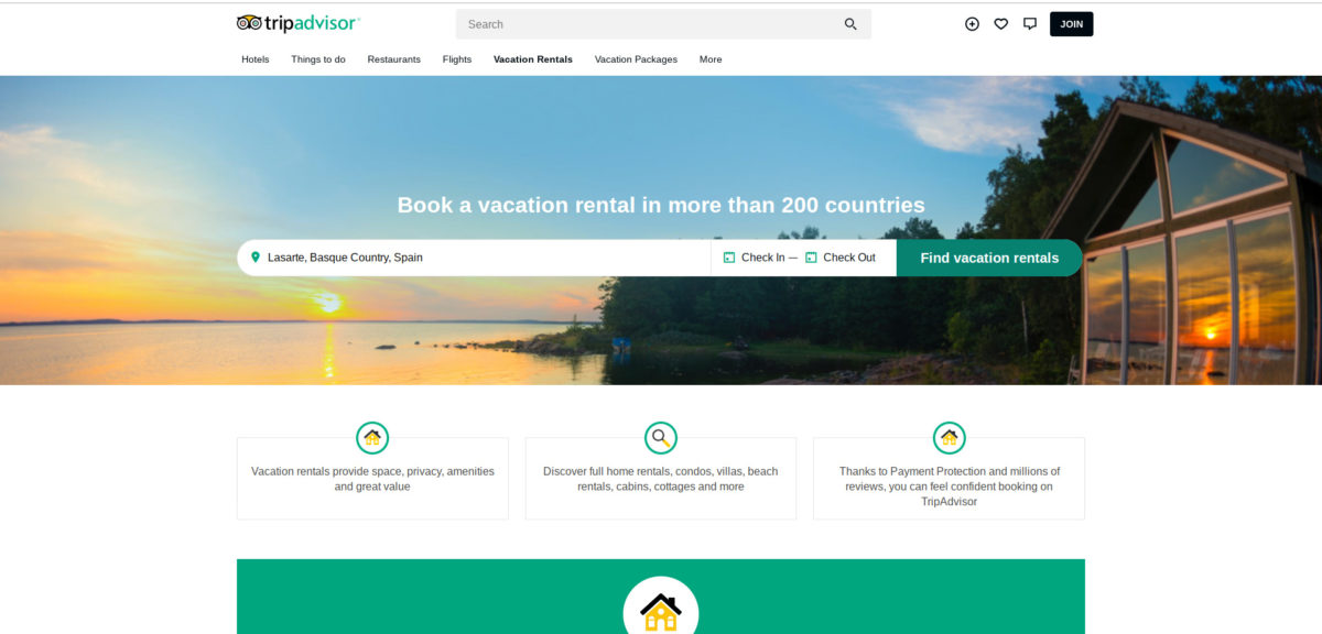 Screenshot of the TripAdvisor Rentals homepage