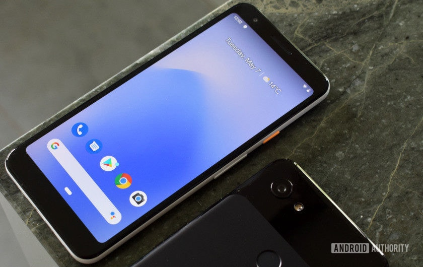 Google Pixel 3a front and Pixel 3a XL back