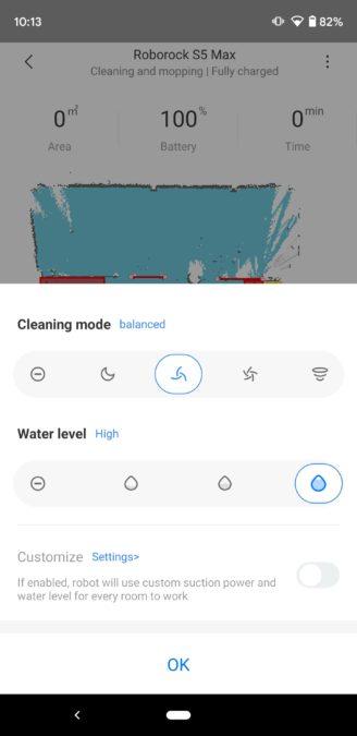 Roborock S5 Max Mi Home app vacuum and water modes