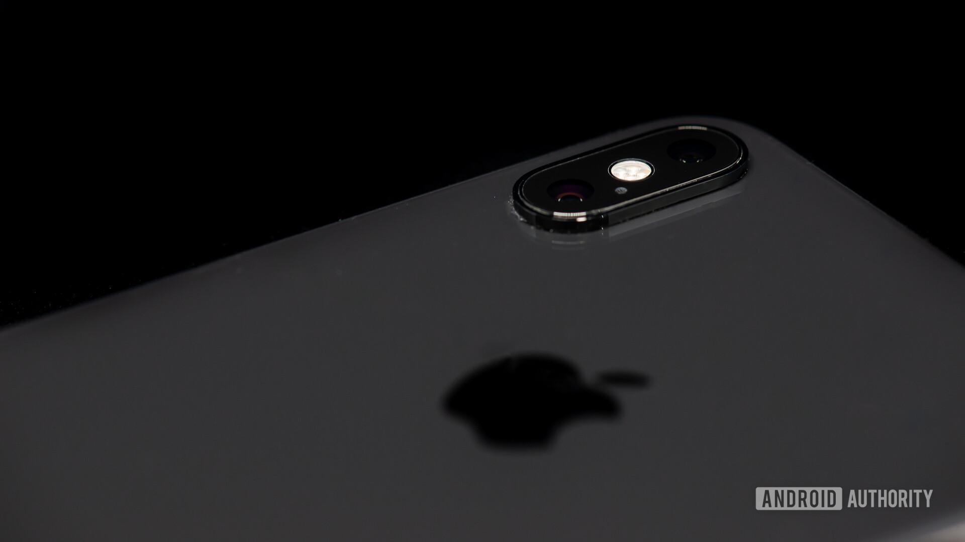 iPhone XS Max closeup on camera module and Apple logo