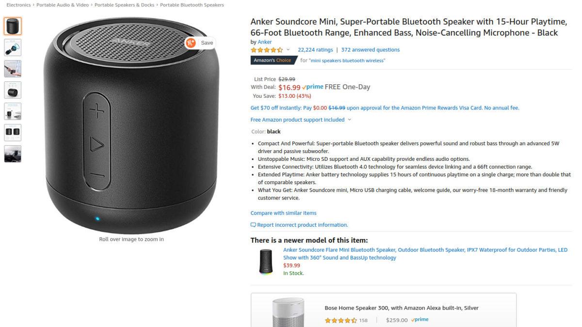 Anker Soundcore Mini Bluetooth speaker sale page