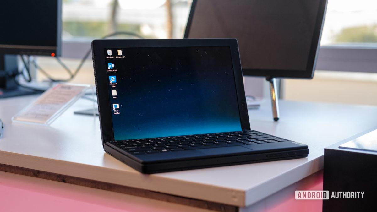 Lenovo Thinkpad X1 Fold half unfolded with keyboard 2
