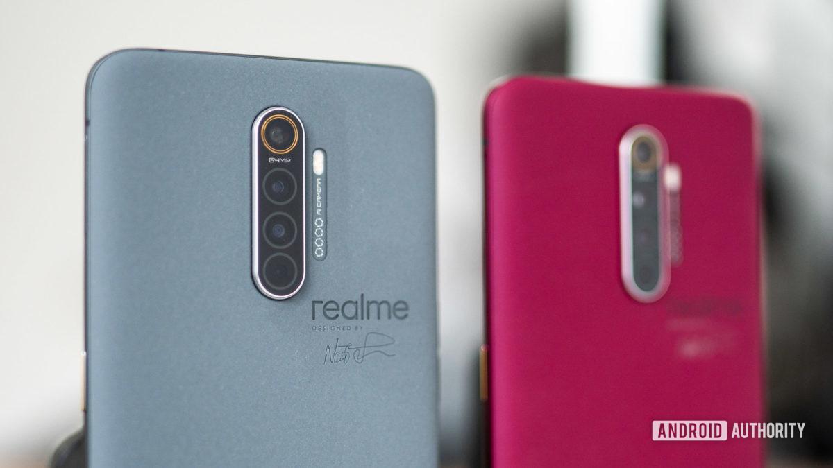 Realme X2 Pro Master Edition in Concrete and Red Brick closeup on angle